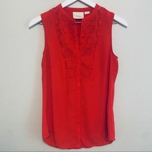 Anthropologie | Maeve Red Sleeveless Top